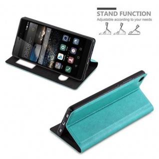 Cadorabo Hülle für Huawei P8 in MINT TÜRKIS - Handyhülle mit Magnetverschluss, Standfunktion und 2 Sichtfenstern - Case Cover Schutzhülle Etui Tasche Book Klapp Style - Vorschau 5