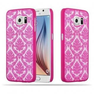 Samsung Galaxy S6 (NICHT für EDGE) Hardcase Hülle in PINK von Cadorabo - Blumen Paisley Henna Design Schutzhülle ? Handyhülle Bumper Back Case Cover