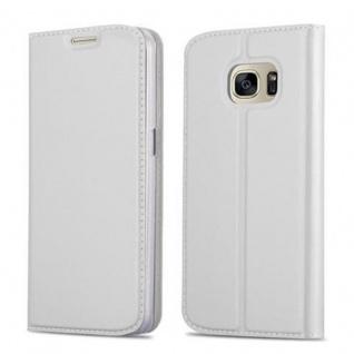 Cadorabo Hülle für Samsung Galaxy S7 in CLASSY SILBER - Handyhülle mit Magnetverschluss, Standfunktion und Kartenfach - Case Cover Schutzhülle Etui Tasche Book Klapp Style