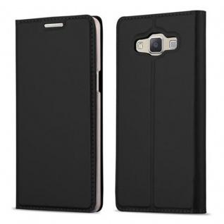 Cadorabo Hülle für Samsung Galaxy A5 2015 in CLASSY SCHWARZ - Handyhülle mit Magnetverschluss, Standfunktion und Kartenfach - Case Cover Schutzhülle Etui Tasche Book Klapp Style