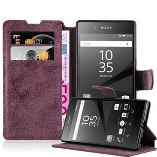 Cadorabo Hülle für Sony Xperia Z5 COMPACT - Hülle in MATT ROT - Handyhülle mit Standfunktion und Kartenfach im Retro Design - Case Cover Schutzhülle Etui Tasche Book Klapp Style