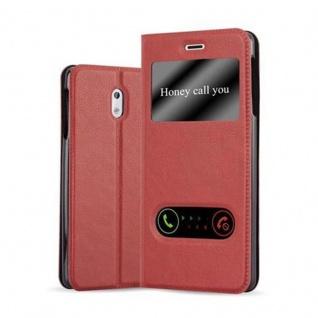 Cadorabo Hülle für Nokia 3 2017 in SAFRAN ROT - Handyhülle mit Magnetverschluss, Standfunktion und 2 Sichtfenstern - Case Cover Schutzhülle Etui Tasche Book Klapp Style
