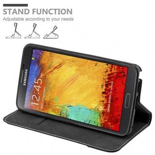 Cadorabo Hülle für Samsung Galaxy NOTE 3 in SCHWARZ BRAUN ? Handyhülle mit Magnetverschluss, Standfunktion und Kartenfach ? Case Cover Schutzhülle Etui Tasche Book Klapp Style - Vorschau 4
