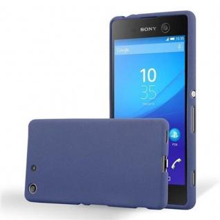 Cadorabo Hülle für Sony Xperia M5 - Hülle in FROST DUNKEL BLAU ? Handyhülle aus TPU Silikon im matten Frosted Design - Ultra Slim Soft Backcover Case Bumper