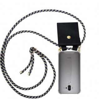 Cadorabo Handy Kette für Huawei MATE 9 in DUNKELBLAU GELB - Silikon Necklace Umhänge Hülle mit Gold Ringen, Kordel Band Schnur und abnehmbarem Etui ? Schutzhülle