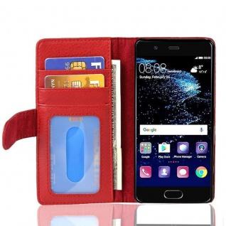 Cadorabo Hülle für Huawei P10 in INFERNO ROT Handyhülle mit Magnetverschluss und 3 Kartenfächern Case Cover Schutzhülle Etui Tasche Book Klapp Style