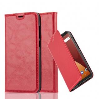 Cadorabo Hülle für WIKO VIEW PRIME in APFEL ROT - Handyhülle mit Magnetverschluss, Standfunktion und Kartenfach - Case Cover Schutzhülle Etui Tasche Book Klapp Style