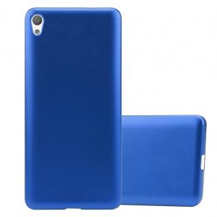Cadorabo Hülle für Sony Xperia E5 in METALLIC BLAU - Handyhülle aus flexiblem TPU Silikon - Silikonhülle Schutzhülle Ultra Slim Soft Back Cover Case Bumper