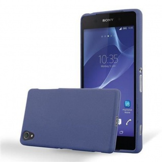 Cadorabo Hülle für Sony Xperia Z1 - Hülle in FROST DUNKEL BLAU ? Handyhülle aus TPU Silikon im matten Frosted Design - Ultra Slim Soft Backcover Case Bumper