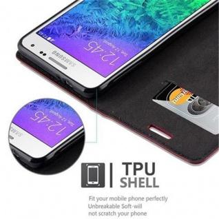 Cadorabo Hülle für Samsung Galaxy ALPHA in APFEL ROT Handyhülle mit Magnetverschluss, Standfunktion und Kartenfach Case Cover Schutzhülle Etui Tasche Book Klapp Style - Vorschau 4