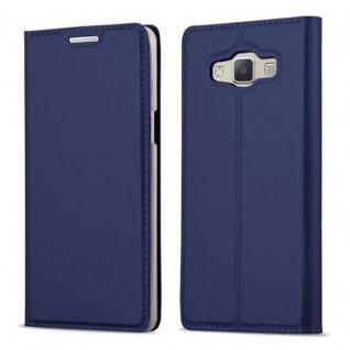 Cadorabo Hülle für Samsung Galaxy A5 2015 in CLASSY DUNKEL BLAU - Handyhülle mit Magnetverschluss, Standfunktion und Kartenfach - Case Cover Schutzhülle Etui Tasche Book Klapp Style