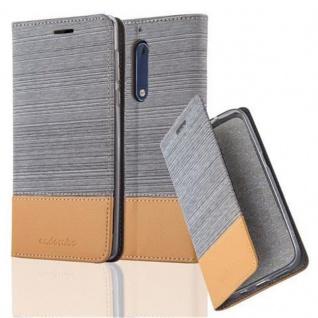 Cadorabo Hülle für Nokia 5 2017 in HELL GRAU BRAUN - Handyhülle mit Magnetverschluss, Standfunktion und Kartenfach - Case Cover Schutzhülle Etui Tasche Book Klapp Style