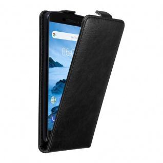 Cadorabo Hülle für Nokia 6.1 2018 in NACHT SCHWARZ Handyhülle im Flip Design mit unsichtbarem Magnetverschluss Case Cover Schutzhülle Etui Tasche Book Klapp Style
