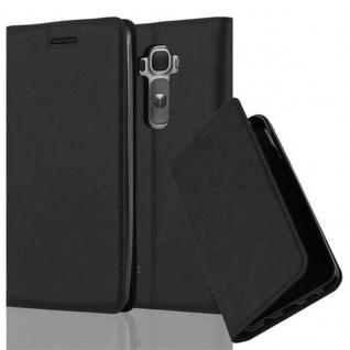 Cadorabo Hülle für LG FLEX 2 in NACHT SCHWARZ - Handyhülle mit Magnetverschluss, Standfunktion und Kartenfach - Case Cover Schutzhülle Etui Tasche Book Klapp Style