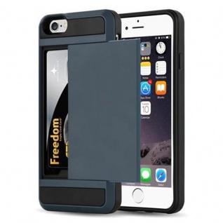 Cadorabo Hülle für Apple iPhone 6 / iPhone 6S - Hülle in TRESOR NAVY BLAU - Handyhülle mit verstecktem Kartenfach - Hard Case TPU Silikon Schutzhülle für Hybrid Cover