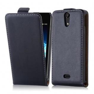 Cadorabo Hülle für Sony Xperia V in KAVIAR SCHWARZ - Handyhülle im Flip Design aus glattem Kunstleder - Case Cover Schutzhülle Etui Tasche Book Klapp Style
