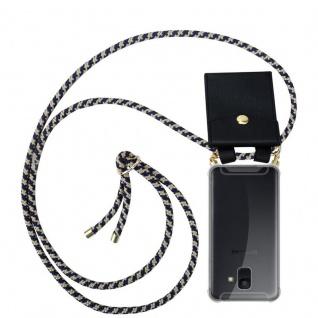 Cadorabo Handy Kette für Samsung Galaxy A6 2018 in DUNKELBLAU GELB - Silikon Necklace Umhänge Hülle mit Gold Ringen, Kordel Band Schnur und abnehmbarem Etui ? Schutzhülle