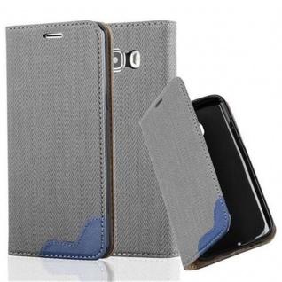 Cadorabo Hülle für Samsung Galaxy J5 2016 - Hülle in GRAU BLAU ? Handyhülle in Bast-Optik mit Kartenfach und Standfunktion - Case Cover Schutzhülle Etui Tasche Book Klapp Style