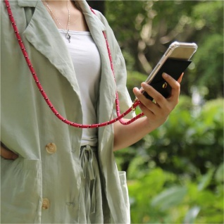 Cadorabo Handy Kette für Apple iPhone 6 PLUS / iPhone 6S PLUS in PINK SCHWARZ WEISS GEPUNKTET Silikon Necklace Umhänge Hülle mit Gold Ringen, Kordel Band Schnur und abnehmbarem Etui Schutzhülle - Vorschau 4