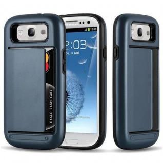 Cadorabo Hülle für Samsung Galaxy S3 / S3 NEO - Hülle in ARMOR DUNKEL BLAU - Handyhülle mit Kartenfach - Hard Case TPU Silikon Schutzhülle für Hybrid Cover im Outdoor Heavy Duty Design
