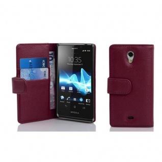 Cadorabo Hülle für Sony Xperia T in BORDEAUX LILA - Handyhülle aus strukturiertem Kunstleder mit Standfunktion und Kartenfach - Case Cover Schutzhülle Etui Tasche Book Klapp Style