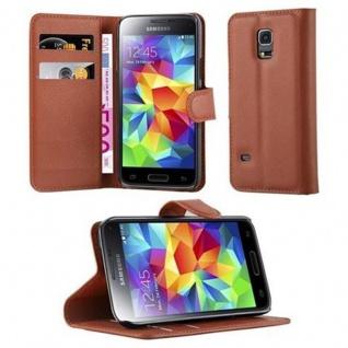 Cadorabo Hülle für Samsung Galaxy S5 MINI / S5 MINI DUOS in SCHOKO BRAUN Handyhülle mit Magnetverschluss, Standfunktion und Kartenfach Case Cover Schutzhülle Etui Tasche Book Klapp Style