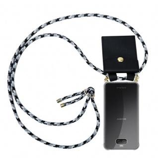 Cadorabo Handy Kette für Sony Xperia 10 in SCHWARZ CAMOUFLAGE - Silikon Necklace Umhänge Hülle mit Gold Ringen, Kordel Band Schnur und abnehmbarem Etui ? Schutzhülle