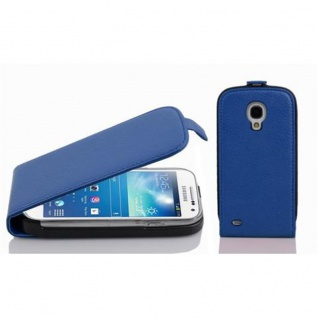 Cadorabo Hülle für Samsung Galaxy S4 MINI - Hülle in KÖNIGS BLAU ? Handyhülle aus strukturiertem Kunstleder im Flip Design - Case Cover Schutzhülle Etui Tasche