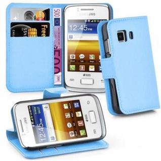 Cadorabo Hülle für Samsung Galaxy YOUNG 2 in PASTEL BLAU - Handyhülle mit Magnetverschluss, Standfunktion und Kartenfach - Case Cover Schutzhülle Etui Tasche Book Klapp Style