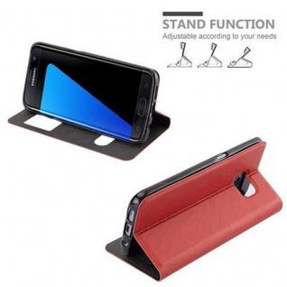 Cadorabo Hülle für Samsung Galaxy S7 EDGE in SAFRAN ROT ? Handyhülle mit Magnetverschluss, Standfunktion und 2 Sichtfenstern ? Case Cover Schutzhülle Etui Tasche Book Klapp Style - Vorschau 5
