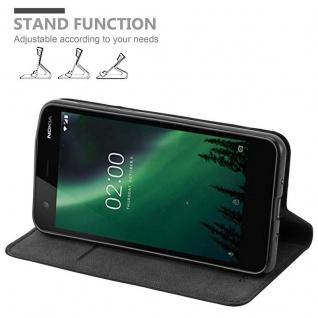 Cadorabo Hülle für Nokia 2 2017 in NACHT SCHWARZ - Handyhülle mit Magnetverschluss, Standfunktion und Kartenfach - Case Cover Schutzhülle Etui Tasche Book Klapp Style - Vorschau 4