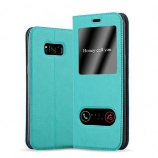 Cadorabo Hülle für Samsung Galaxy S8 in MINT TÜRKIS - Handyhülle mit Magnetverschluss, Standfunktion und 2 Sichtfenstern - Case Cover Schutzhülle Etui Tasche Book Klapp Style