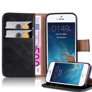 Cadorabo Hülle für Apple iPhone 5 / iPhone 5S / iPhone SE in GRAPHIT SCHWARZ - Handyhülle mit Magnetverschluss, Standfunktion und Kartenfach - Case Cover Schutzhülle Etui Tasche Book Klapp Style