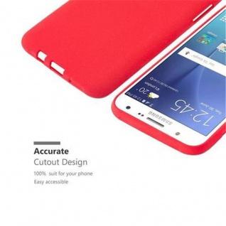 Cadorabo Hülle für Samsung Galaxy J7 2015 in FROST ROT - Handyhülle aus flexiblem TPU Silikon - Silikonhülle Schutzhülle Ultra Slim Soft Back Cover Case Bumper - Vorschau 3