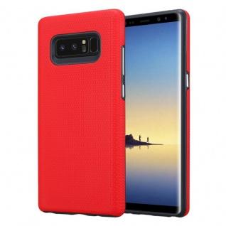 Cadorabo Hülle für Samsung Galaxy NOTE 8 in NELKEN ROT Outdoor Handyhülle mit extra Grip Anti Rutsch Oberfläche im Triangle Design aus Silikon und Kunststoff Schutzhülle Hybrid Hardcase Back Case