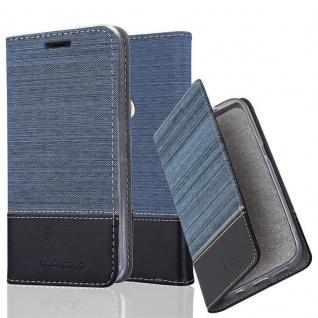 Cadorabo Hülle für WIKO VIEW 2 in DUNKEL BLAU SCHWARZ - Handyhülle mit Magnetverschluss, Standfunktion und Kartenfach - Case Cover Schutzhülle Etui Tasche Book Klapp Style