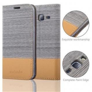 Cadorabo Hülle für Samsung Galaxy J3 2016 in HELL GRAU BRAUN - Handyhülle mit Magnetverschluss, Standfunktion und Kartenfach - Case Cover Schutzhülle Etui Tasche Book Klapp Style - Vorschau 2
