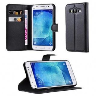 Cadorabo Hülle für Samsung Galaxy J5 2015 in PHANTOM SCHWARZ - Handyhülle mit Magnetverschluss, Standfunktion und Kartenfach - Case Cover Schutzhülle Etui Tasche Book Klapp Style