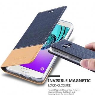 Cadorabo Hülle für Samsung Galaxy J5 2016 in DUNKEL BLAU BRAUN - Handyhülle mit Magnetverschluss, Standfunktion und Kartenfach - Case Cover Schutzhülle Etui Tasche Book Klapp Style