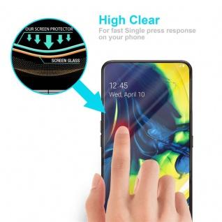 Cadorabo Vollbild Panzer Folie für Samsung Galaxy A80 / A90 - Schutzfolie in TRANSPARENT mit SCHWARZ - Gehärtetes (Tempered) Display-Schutzglas in 9H Härte mit 3D Touch Kompatibilität - Vorschau 5