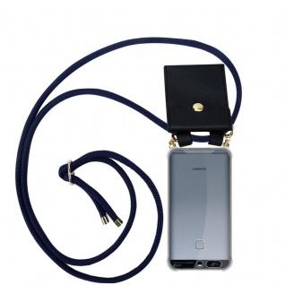 Cadorabo Handy Kette für Huawei P9 in TIEF BLAU - Silikon Necklace Umhänge Hülle mit Gold Ringen, Kordel Band Schnur und abnehmbarem Etui ? Schutzhülle