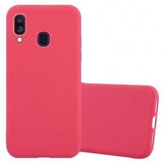 Cadorabo Hülle für Samsung Galaxy A40 in CANDY ROT - Handyhülle aus flexiblem TPU Silikon - Silikonhülle Schutzhülle Ultra Slim Soft Back Cover Case Bumper