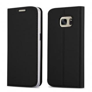 Cadorabo Hülle für Samsung Galaxy S7 in CLASSY SCHWARZ Handyhülle mit Magnetverschluss, Standfunktion und Kartenfach Case Cover Schutzhülle Etui Tasche Book Klapp Style