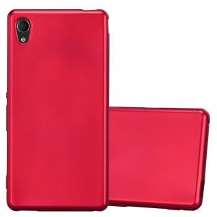 Cadorabo Hülle für Sony Xperia M4 Aqua in METALLIC ROT Handyhülle aus flexiblem TPU Silikon Silikonhülle Schutzhülle Ultra Slim Soft Back Cover Case Bumper