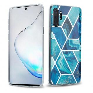 Cadorabo Hülle für Samsung Galaxy NOTE 10 PRO Hülle in Blaue Welle Marmor No.13 Handyhülle aus TPU Silikon mit Muster Mosaik Silikonhülle Schutzhülle Ultra Slim Back Cover Case Bumper