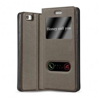 Cadorabo Hülle für Huawei P8 LITE 2015 in STEIN BRAUN - Handyhülle mit Magnetverschluss, Standfunktion und 2 Sichtfenstern - Case Cover Schutzhülle Etui Tasche Book Klapp Style
