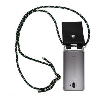 Cadorabo Handy Kette für Huawei MATE 9 in CAMOUFLAGE - Silikon Necklace Umhänge Hülle mit Silber Ringen, Kordel Band Schnur und abnehmbarem Etui - Schutzhülle