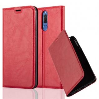 Cadorabo Hülle für Huawei MATE 10 LITE in APFEL ROT - Handyhülle mit Magnetverschluss, Standfunktion und Kartenfach - Case Cover Schutzhülle Etui Tasche Book Klapp Style
