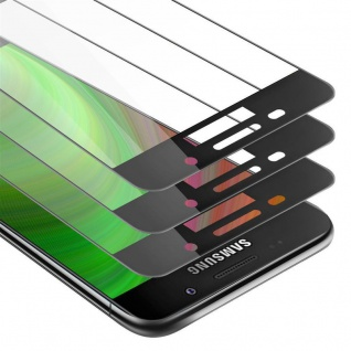 Cadorabo 3x Vollbild Panzer Folie für Samsung Galaxy A3 2016 - Schutzfolie in TRANSPARENT mit SCHWARZ - 3er Pack Gehärtetes (Tempered) Display-Schutzglas in 9H Härte mit 3D Touch