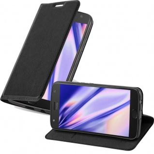 Cadorabo Hülle für Motorola MOTO X2 in NACHT SCHWARZ - Handyhülle mit Magnetverschluss, Standfunktion und Kartenfach - Case Cover Schutzhülle Etui Tasche Book Klapp Style